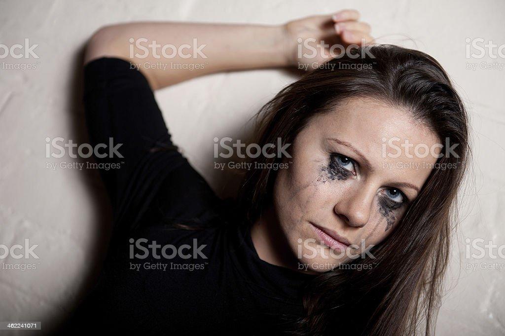 Tearful Woman In Black stock photo