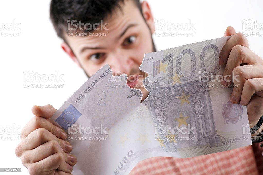 Tearing euros royalty-free stock photo