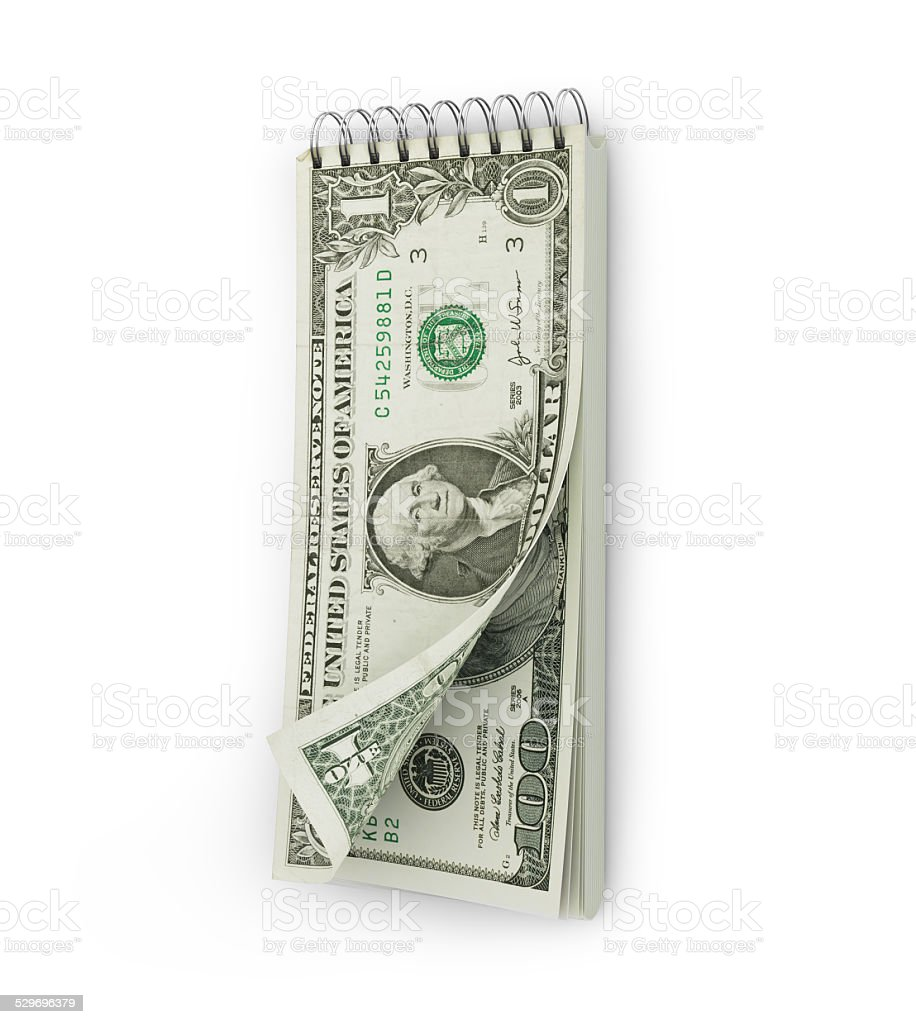tear-off calendar with a dollar bank note. Investments concept stock photo