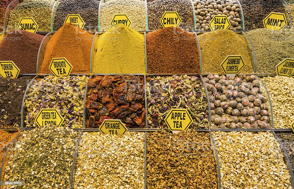 Teas, herbs and spices in a Turkish bazaar royalty-free stock photo