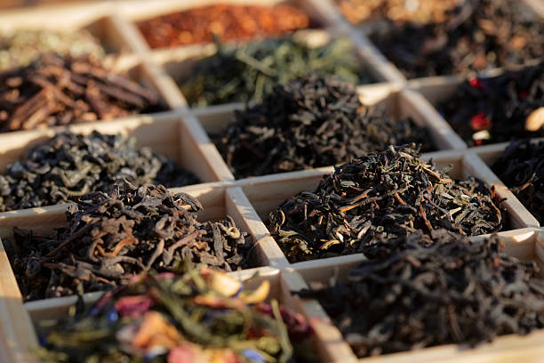 Teas in a box stock photo