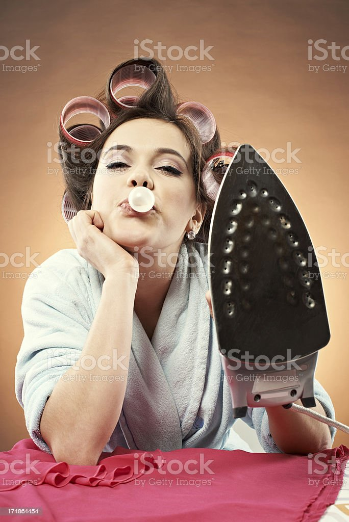 Teasing housewife royalty-free stock photo