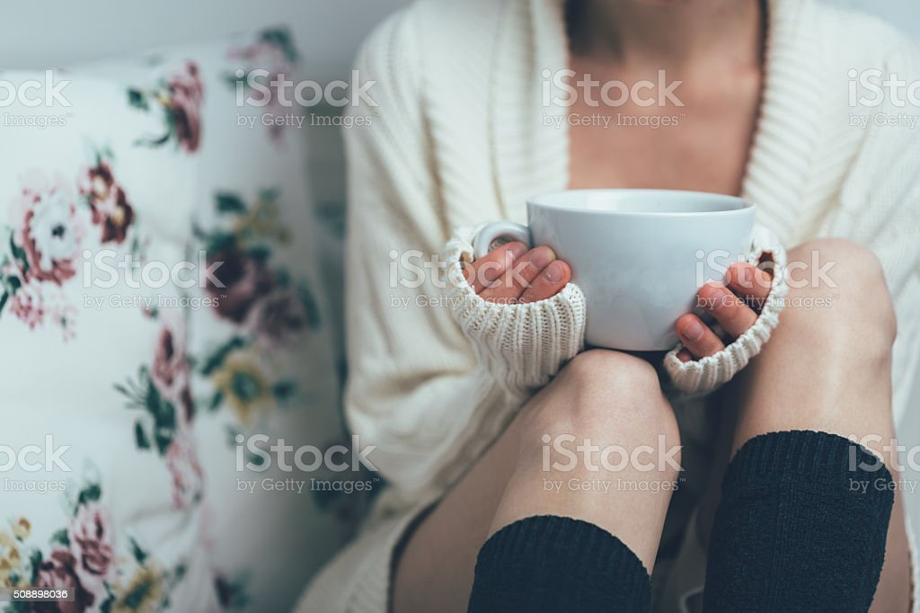Teatime in bed stock photo
