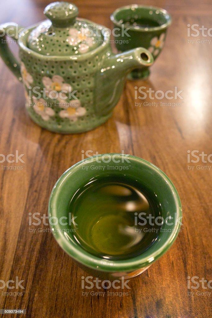 Teatime on wood table stock photo