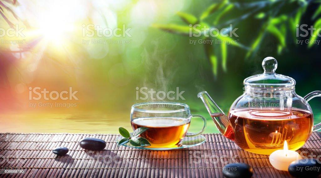 Teatime - Relax With Hot Tea In Zen Garden ストックフォト