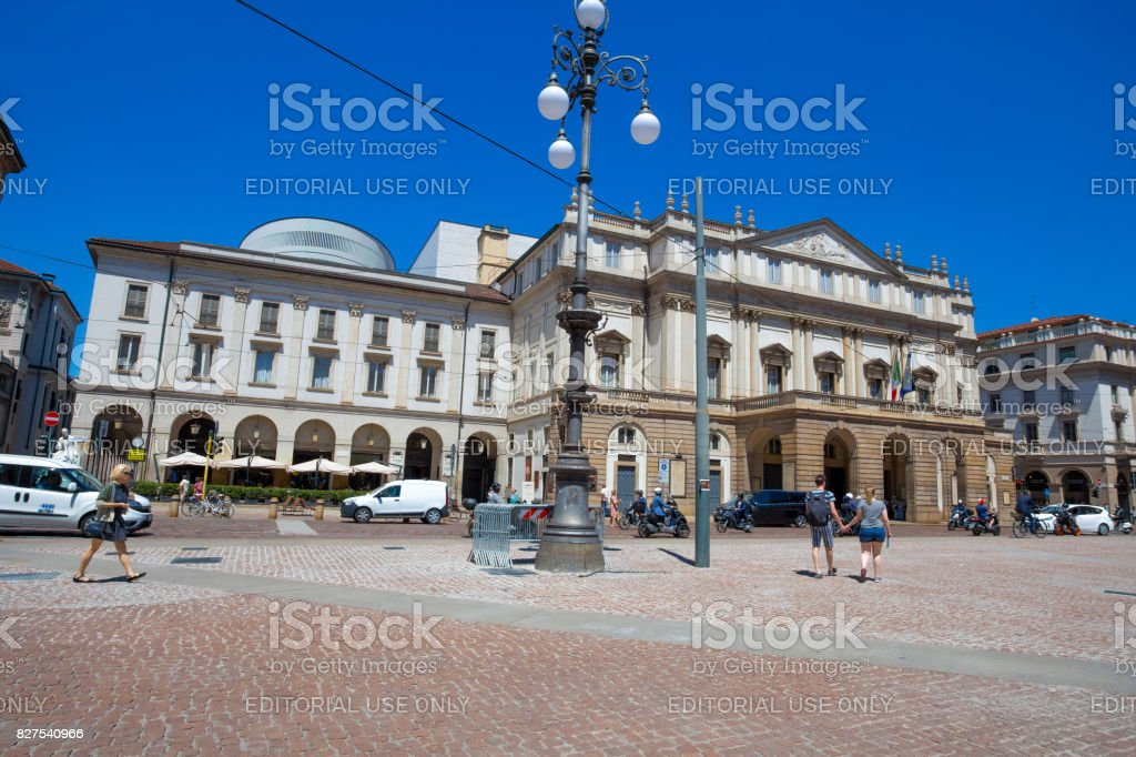 MILAN, ITALY, JUNE, 7, 2017 - Teatro alla Scala (Theatre La Scala). Is the main opera house in Milan. Considered one of the most prestigious theaters in the world, Milan, Italy stock photo