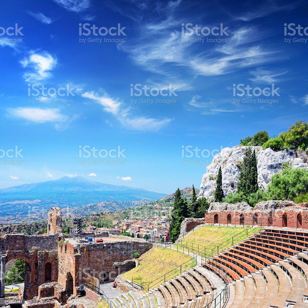 Teatro Greco in Taormina stock photo