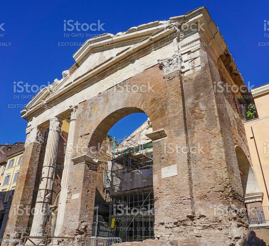 Teatro Marcello and Portico D'Ottavia Ruins in Rome Italy stock photo