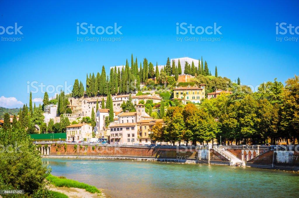 Teatro Romano and castel San Pietro on Adige river in Verona, Veneto region, Italy. stock photo