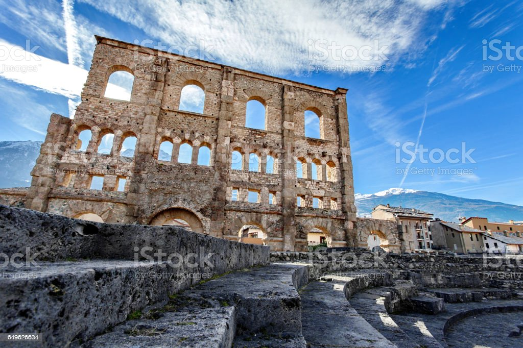 Teatro Romano - Aosta, Valle d'Aosta, Italy stock photo