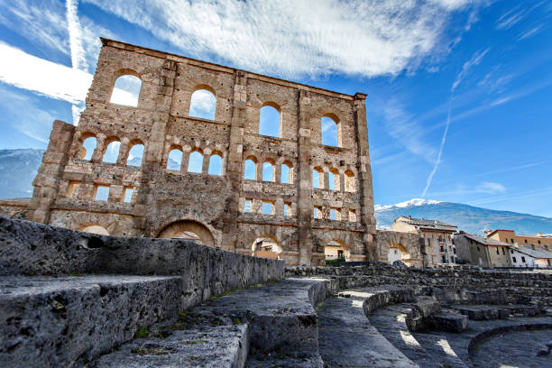 Teatro Romano - Aosta, Valle d ' Aosta, Italia - foto de stock