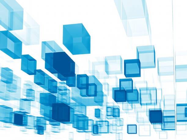 Fondo de tecnología con azul moviendo cubos - foto de stock