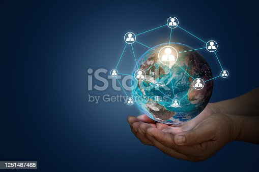 Tech devices connected to each other by business. Businessman hand touching global network and data exchanges over the world 3D rendering elements of this image furnished by NASA.