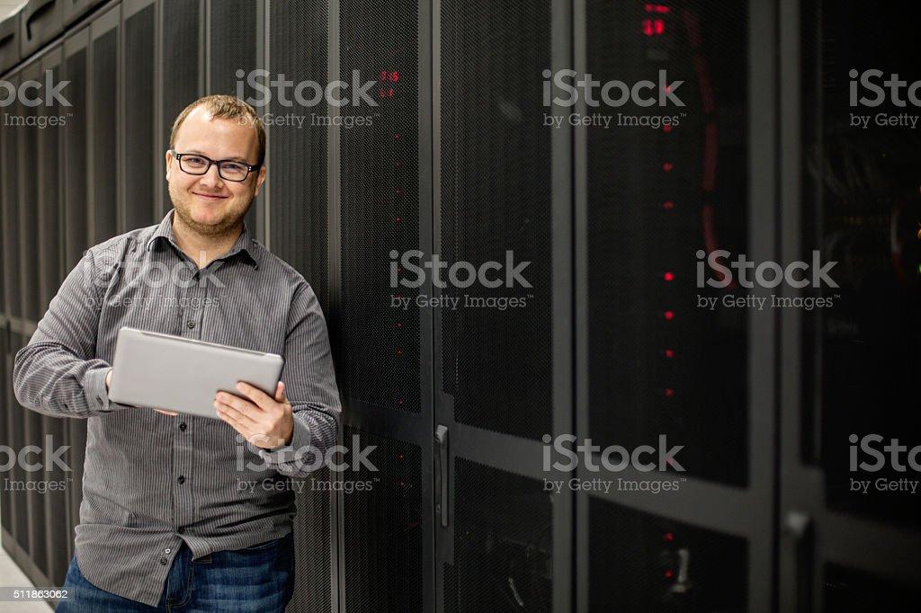 IT Tech in Server Room stock photo