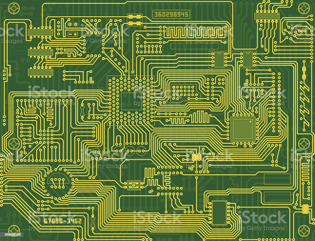 Tech industrial electronic circuit green background royalty-free stock photo