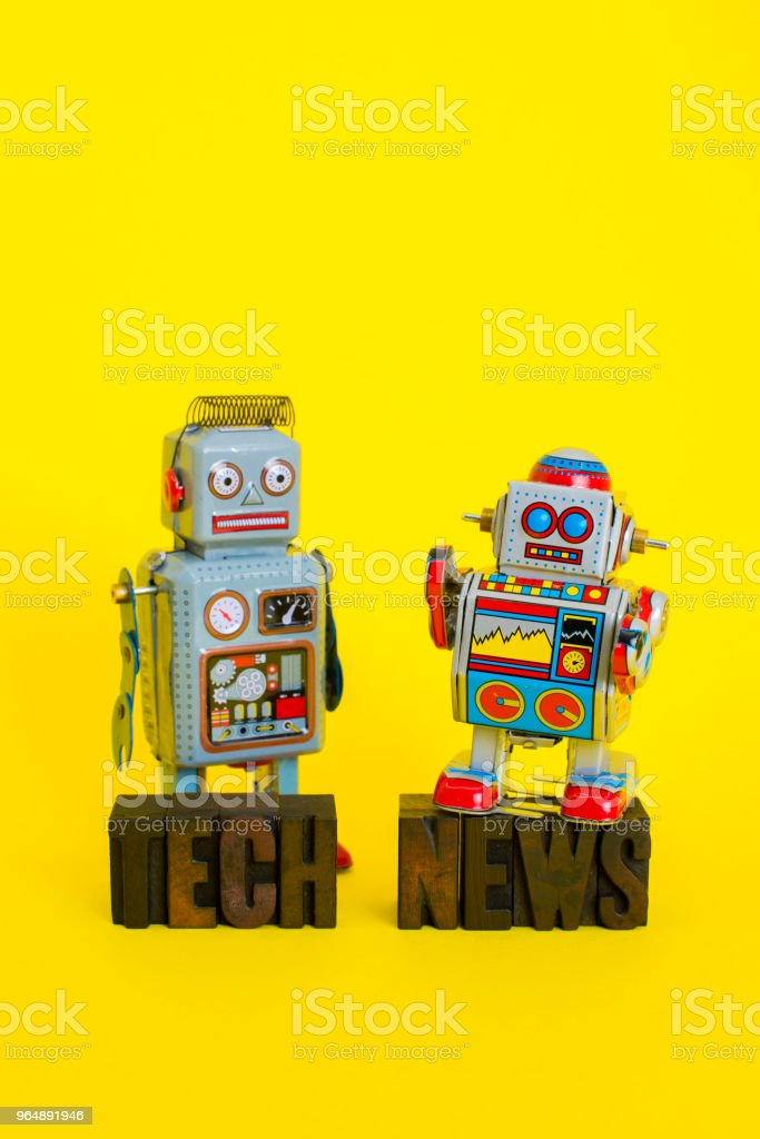 Tech News with Vintage Robots royalty-free stock photo