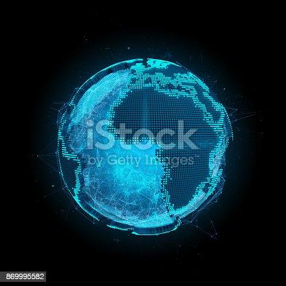 istock Tech planet Earth 3d rendering 869995582