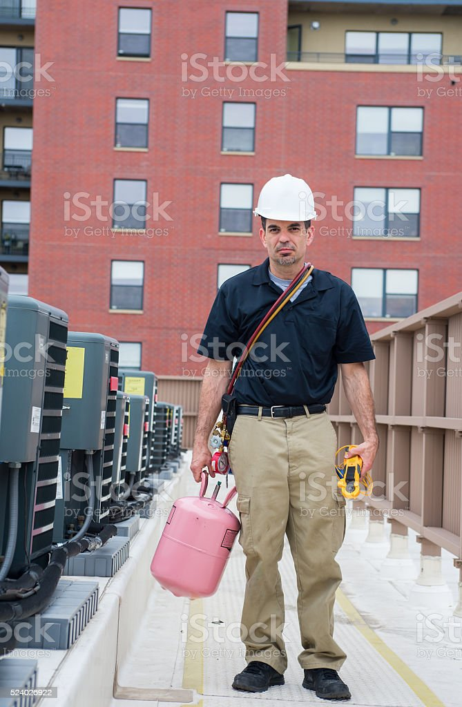 HVAC Tech Pose stock photo