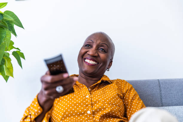 Tech Savvy Senior Woman stock photo