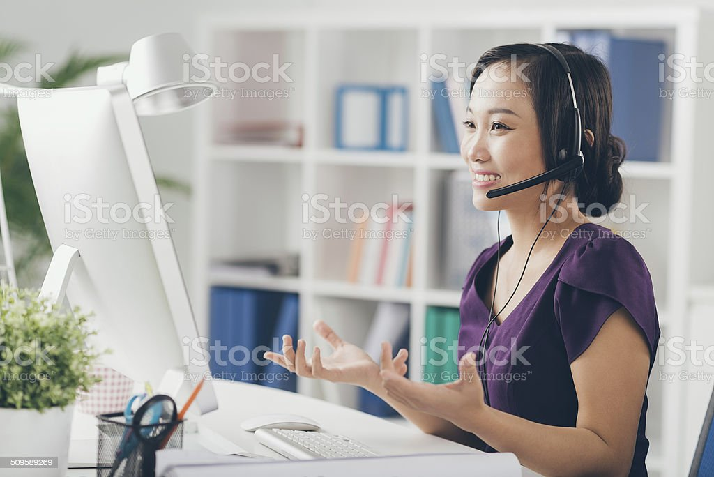 Technic support operator stock photo