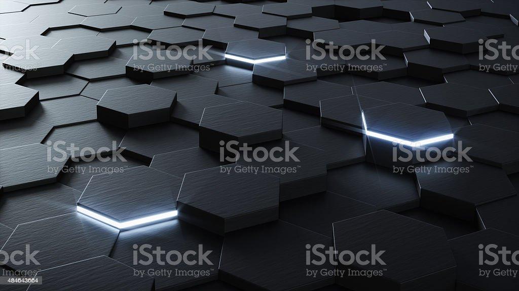 Technical 3D hexagonal background design stock photo