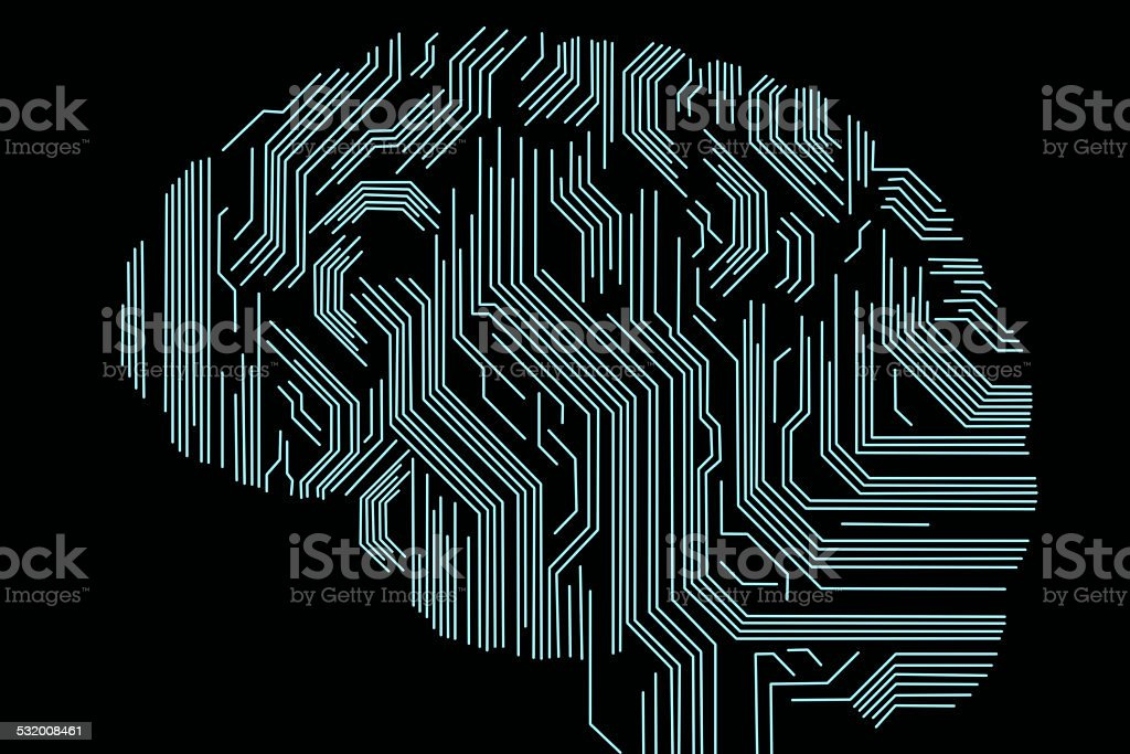 Technical Digital Human Brain stock photo
