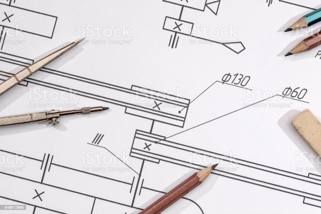 technical drawing detail and several drawing tools. stock photo