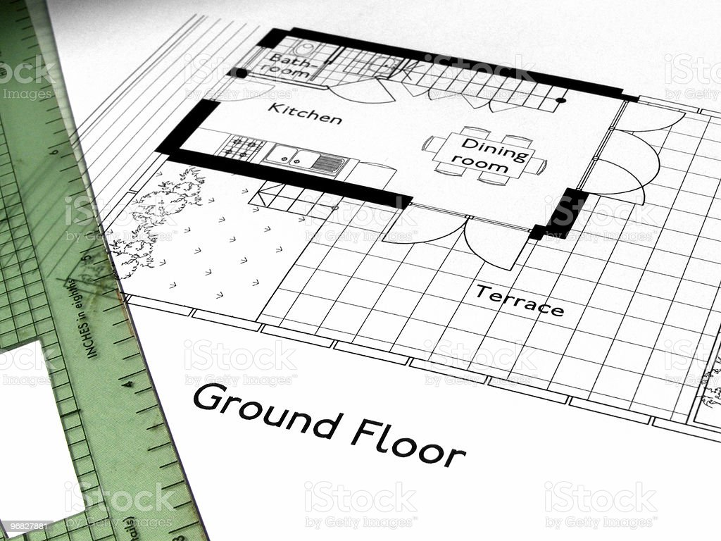 Technical drawing of the ground floor of a house stock photo