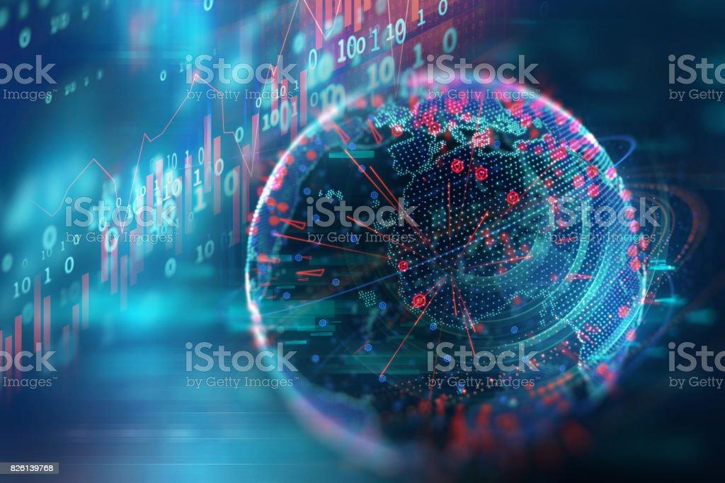 tekniska finansiella diagram på digital jorden 3d illustration bildbanksfoto