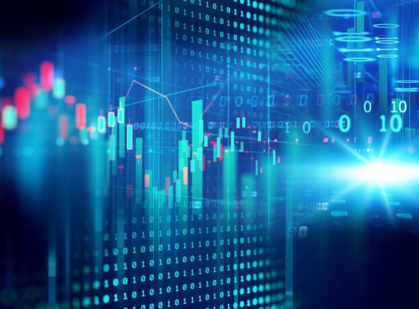 Technische Finanzgrafik zu technologischem, abstraktem Hintergrund – Foto