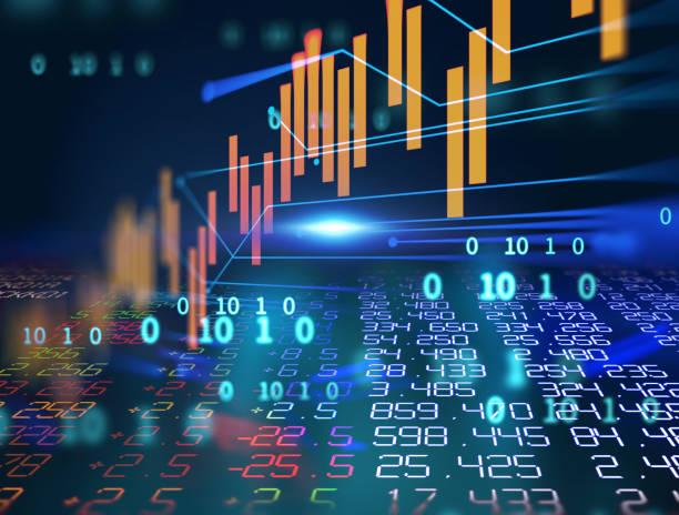 technisches Finanzdiagramm zum abstrakten Technologiehintergrund – Foto