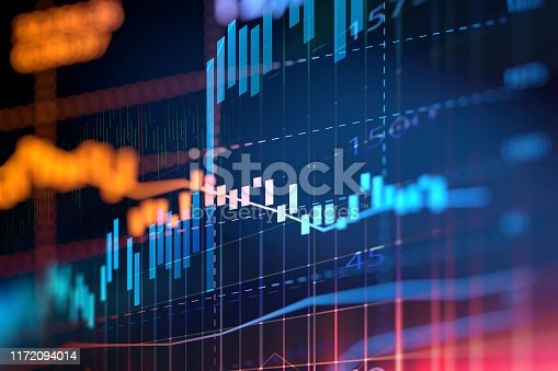 financial stock market graph on technology abstract background represent risk of investment