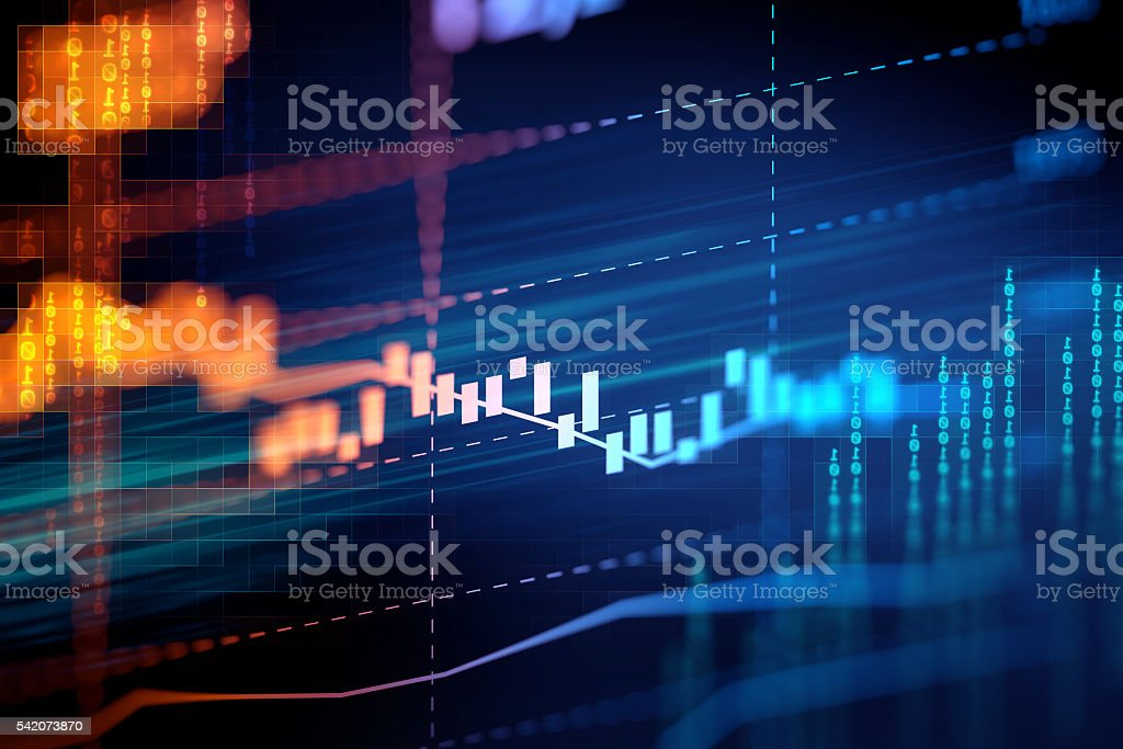 technical financial graph on technology abstract background stock photo