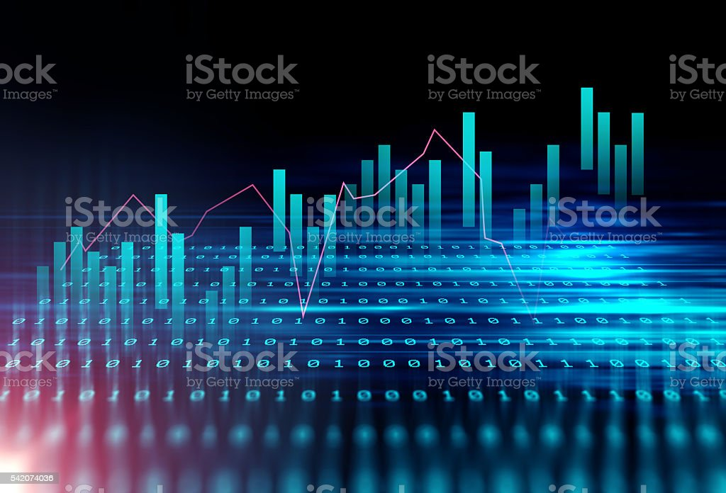 technical financial graph on technology abstract background - foto de stock