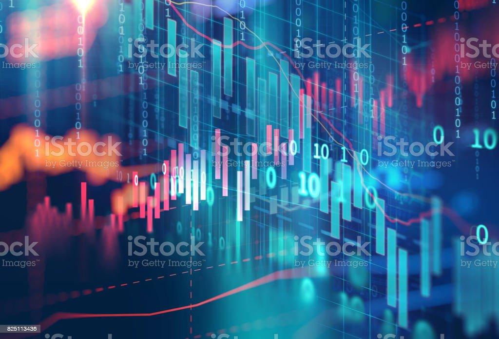 technische financiële grafiek op abstracte achtergrond van technologie foto