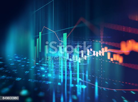 868363098 istock photo technical financial graph on technology abstract background 849600980