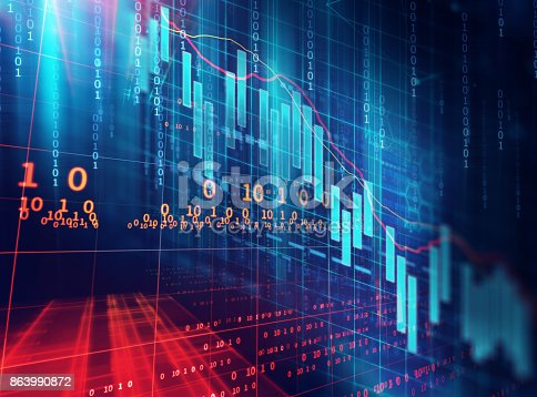 868363098 istock photo technical financial graph on technology abstract background 863990872
