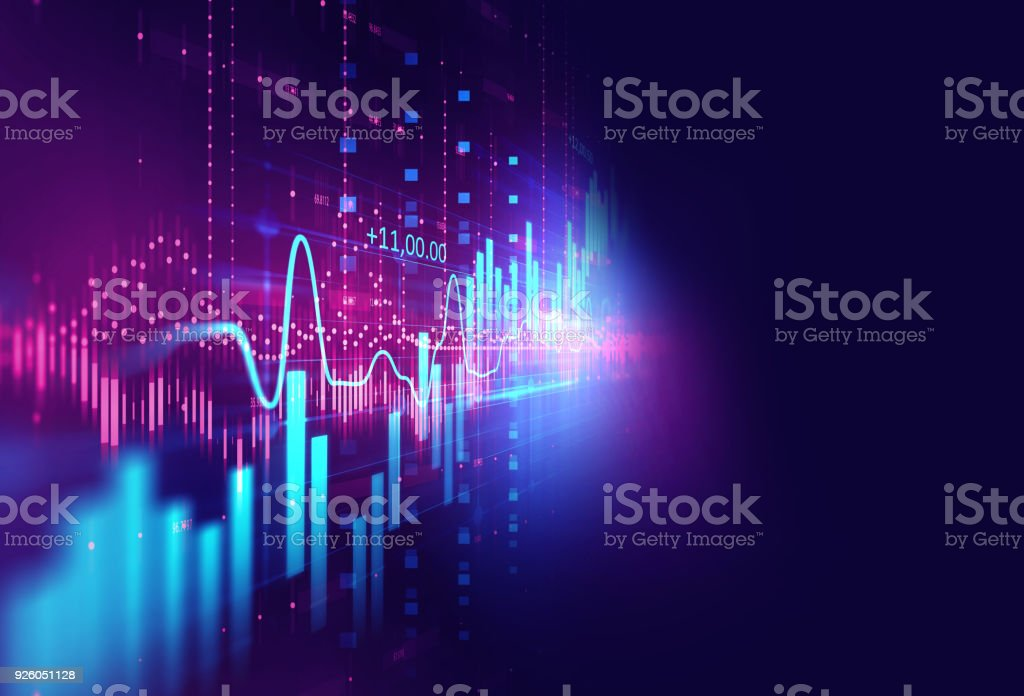 technical financial graph on technology abstract background - foto stock