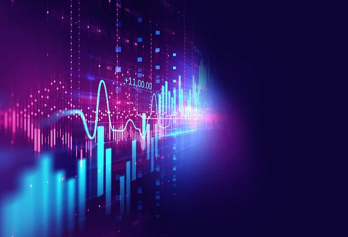 Technical Financial Graph On Technology Abstract Background - Fotografie stock e altre immagini di Affari