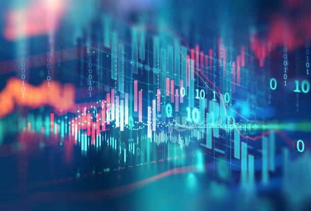 기술 추상적인 배경에 기술 금융 그래프 - 금융 수치 뉴스 사진 이미지