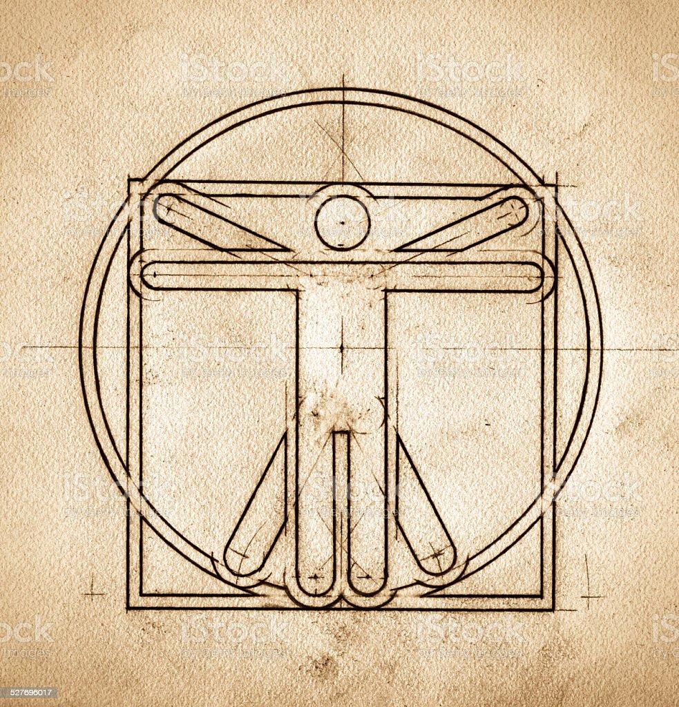 Technical Minimalistic Vitruvian Man stock photo