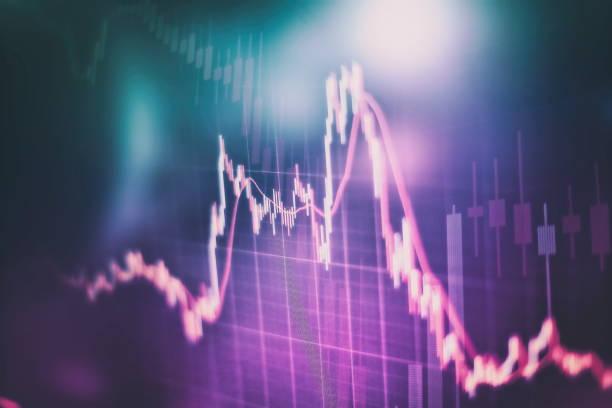 Teknik fiyat grafiği ve göstergesi, mavi tema ekranında kırmızı ve yeşil mum grafiği, piyasa volatilitesi, yukarı ve aşağı trend. Stok ticareti, kripto para birimi arka planı. stok fotoğrafı