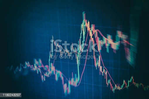 istock Technical price graph and indicator, red and green candlestick chart on blue theme screen, market volatility, up and down trend. Stock trading, crypto currency background. 1150243207
