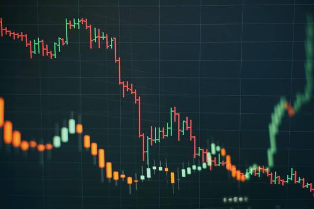 Teknik fiyat grafiği ve göstergesi, mavi tema ekranında kırmızı ve yeşil mum çubuğu grafiği, piyasa volatilitesi, yukarı ve aşağı trend. Hisse senedi ticareti, kripto para geçmişi. stok fotoğrafı