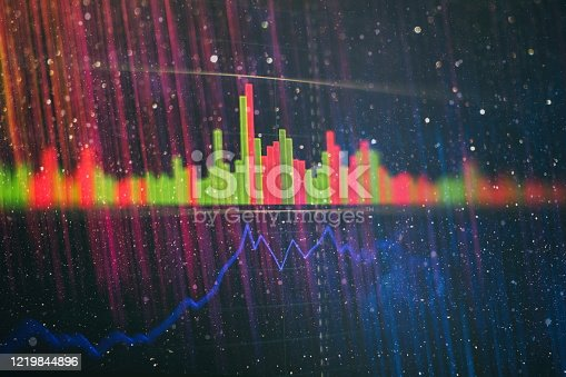 698711352 istock photo Technical price graph and indicator, red and green candlestick chart on blue theme screen, market volatility, up and down trend. Stock trading, crypto currency background. 1219844896