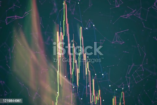 698711352 istock photo Technical price graph and indicator, red and green candlestick chart on blue theme screen, market volatility, up and down trend. Stock trading, crypto currency background. 1219844961