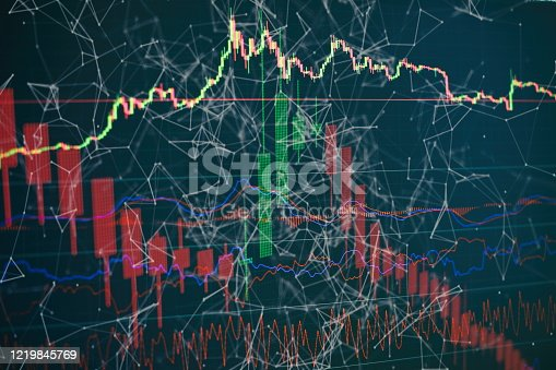 698711352 istock photo Technical price graph and indicator, red and green candlestick chart on blue theme screen, market volatility, up and down trend. Stock trading, crypto currency background. 1219845769