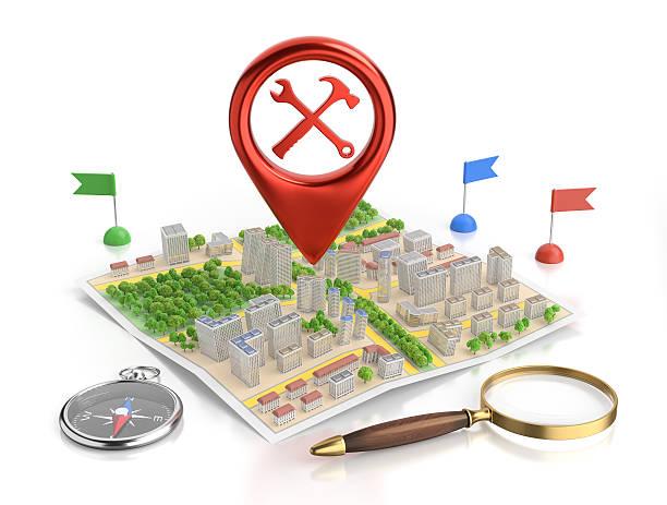 technischer service-standort - kompass wanderkarte stock-fotos und bilder