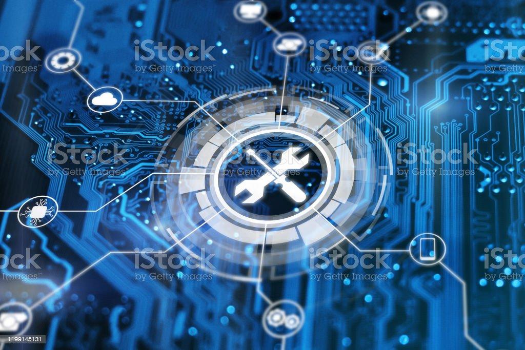 기술 지원 개념입니다. 유지 보수 사인 렌치 및 스루 드라이버 도구. 기술 문제 해결 서비스. - 로열티 프리 IT 지원 스톡 사진