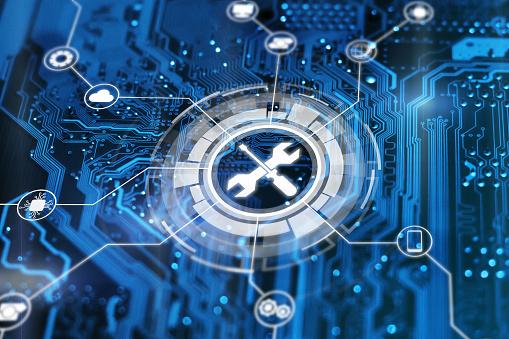 기술 지원 개념입니다 유지 보수 사인 렌치 및 스루 드라이버 도구 기술 문제 해결 서비스 IT 지원에 대한 스톡 사진 및 기타 이미지